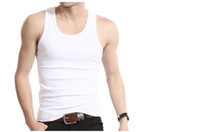 Wholesale Mens Solid Tanks - Wholesale-Summer bodybuilding clothing solid cotton O-neck men tank top fitness singlets mens undershirt sport