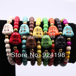 Wholesale Tennis Bracelet Cheap - Wholesale-Min. order $10 classic cheap turquoise bead buddha head bracelet for men wholesale free shipping