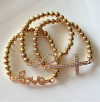 Wholesale Sideway Infinity - Wholesale-Fashion Jewelry Sideway Rhinestone Love Cross Infinity Bracelet Set Elastic Bracelet