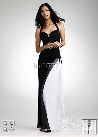 2011 New! David\'s Bridal Prom Dress Halter Black/White With Side ...