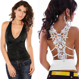 Barato Deep V Top Black Club-Wholesale-Hot Sale Sexy Mulheres Regatas Crochet Lace Patchwork Open Back profunda V Neck Night Club Camisole Vest Top Black White