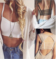 Wholesale Crop Tanks For Women - Wholesale-Hot Sexy Women Hollow Out Crop Tops Straps Wrapped Chest Bra Summer Vest Beach Tank Tops for Young Ladies