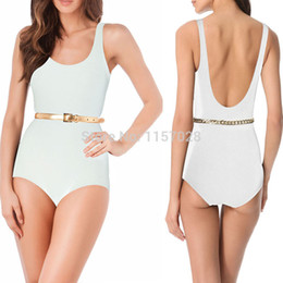 Wholesale One Piece Swimsuit Belt - Wholesale-White One Piece Swimsuit 2015 Sexy Top Padded Swimwear Women Bodycon Bandage Bodysuit Biquini Bathing Suit Monokinis + Gold Belt