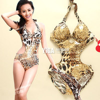 Wholesale Swimwear Steel Push Up Triangle - Wholesale-Sexy triangle one pieces swimsuit leopard print steel push up female swimwear free shipping hot sale beach Spa swimwear