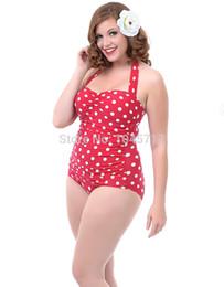 2019 traje de baño pinup Al por mayor-Plus Size S-3L 2015 Vintage Polka Dot de una pieza del traje de baño sexy push up traje de baño gordo de las mujeres pinup monroe biquini traje de baño traje de baño pinup baratos