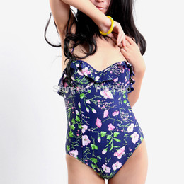 Wholesale Top Fashion Swimwear - Wholesale-Fashion ruffle wired foam cups sexy and hot one piece women's swimsuit,floral cute girls swimwear,top sale beachwear