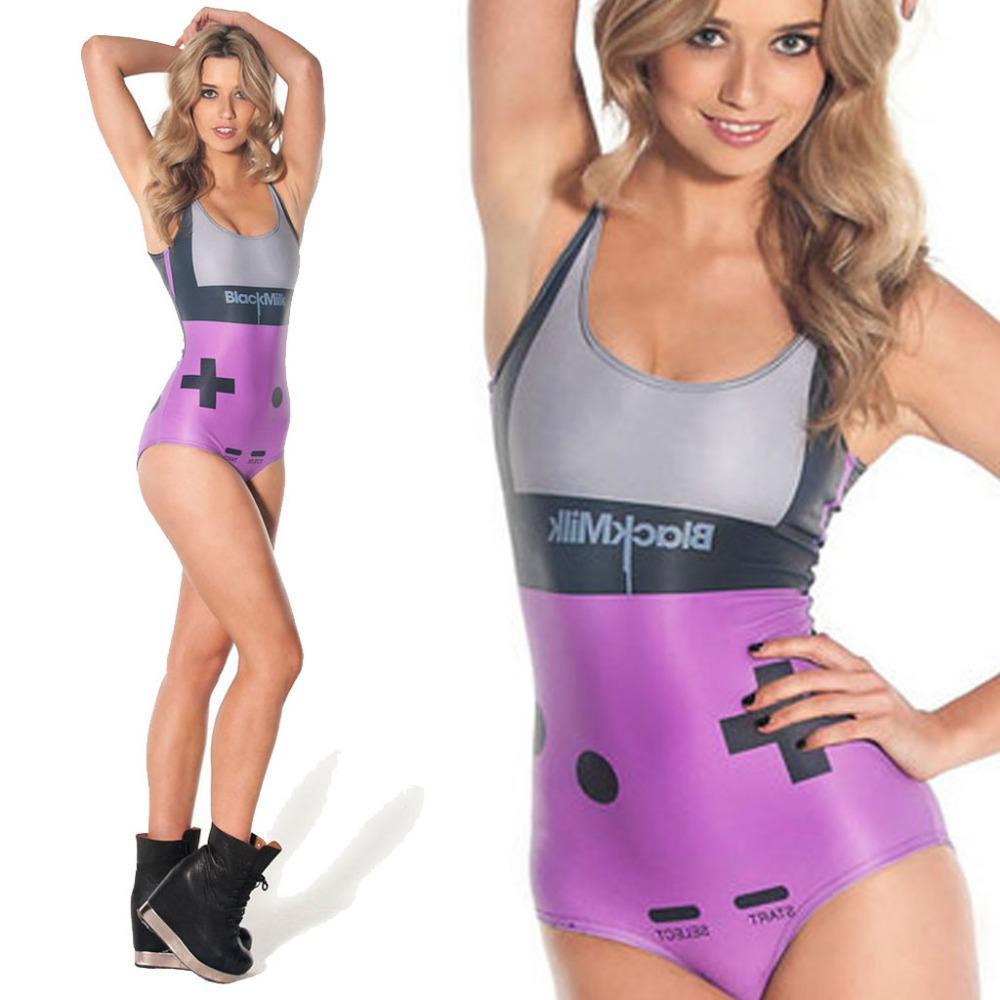 72f29c6110 2019 Wholesale Black Milk Gamer Purple Swimwear Women One Piece Swimsuit  High Waist Swimsuit 2015 Bathing Suit Sexy Swimwears For Women From  Apparelone, ...