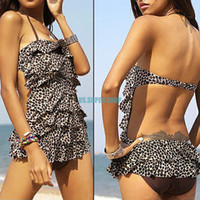 All'ingrosso-Womens leopardo Backless Tankini Surf costume da bagno del vestito di nuotata di usura Swimdress EQ5777