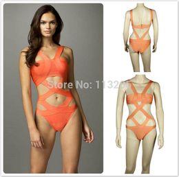 Wholesale Bandage Xxs - Wholesale-Sexy Fashion Bandage Women's 1pcs HL Swimsuit Orange High Qulality One Pieces Brand Swimwear Push Size XXS-XL FREE SHIPPING