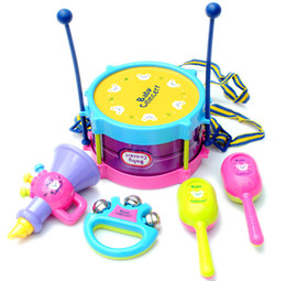 Wholesale Toy Learning Mobile - Wholesale-Baby Toys Rattle Mobiles Musical Handbell Jingle Bell Balls Drum Toy Music Instrument Education Learning Classic Infant Toys