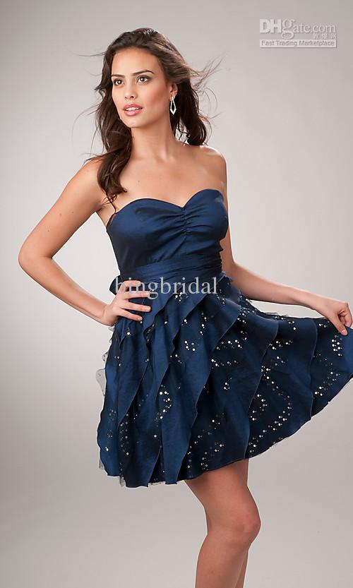Short Sweetheart Navy Blue Asymetrical Tiers Cocktail Dress Sexy ...