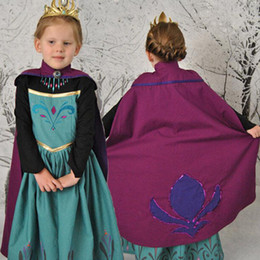 Wholesale Long Summer Dresses For Kids - Wholesale-New 2015 Elsa coronation dress, long sleeve elsa costumes for kid girls (dress+cape) dresses baby & kids clothes