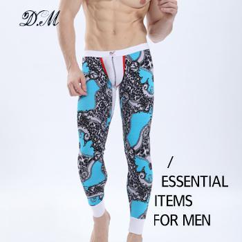 Großhandel-böhmischen Blumendruck bequeme modale Baumwolle lange Unterhosen Unterwäsche Männer Mode sexy Low-Taille männlich warme Strumpfhosen Leggings