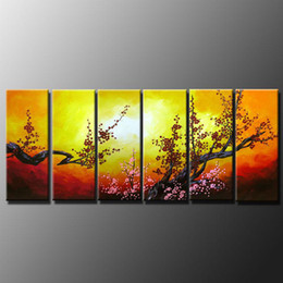 Wholesale framed asian art - Framed m28-6 panels,Pure Handpainted Huge Beautiful Asian Blossom Abstract Zen Art Oil Painting On Quality Canvas Multi sizes Available