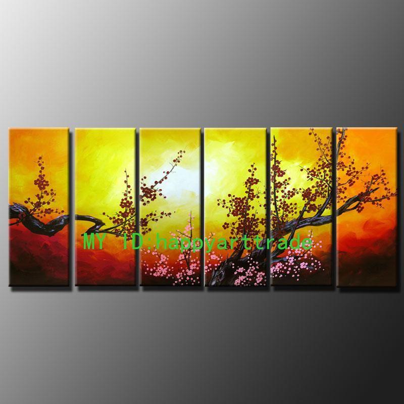 M28-6 패널 Handpainted 거대한 아름 다운 아시아 꽃 추상 젠 아트 유화 캔버스 멀티 크기 사용 가능
