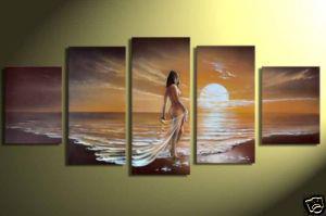 Gerahmte M40-riesige moderne abstrakte Seascape Art Ölgemälde Wand Deco Leinwand 5 Platten Multi Größen verfügbar, versandkostenfrei