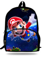 Wholesale Red Mario Backpack - Wholesale-Cute 16-inch Mochila Super Mario Backpack Children For Teenagers Cartoon Girl Bags Kids School Bags Super Mario Print Age 7-13