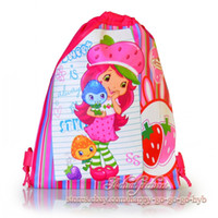 Wholesale Strawberry Fabric Wholesale - Wholesale-Free shipping,12Pcs Strawberry Shortcake Kids Drawstring Backpack School Bags  Tote bags,34*27cm,Non Woven Fabric,Party Favor