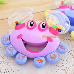 Wholesale Toys Plastic Musical Instruments - Wholesale-1PC Hot Baby Kid Crab Shape Shaking Rattle Handbell Musical Instrument Baby Toy