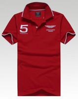 Wholesale racing shirts - Wholesale-free shipping Mens solid Shirt #5 Aston Martin Racing Good quality Summer Short Sleeves Casual Top
