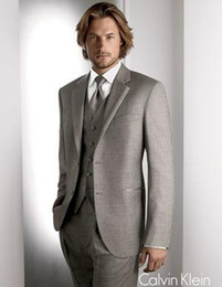 Wholesale Men S Two Button Suit - Custom Made Light Grey Groom Tuxedo Two Button Notch Lapel Men's Suits Prom Clothing (jacket+pants+tie+vest)NO: 3