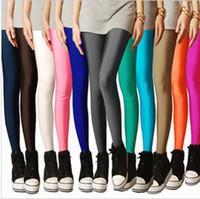 Wholesale Leggings Neon - Wholesale-IMIXBOX Multi color neon leggings candy color elastic size leggings ankle length leggings W3007