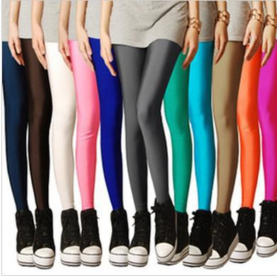 Wholesale-IMIXBOX Multi Farbe Neon Leggings Candy Farbe elastische Größe Leggings Knöchellänge Leggings W3007