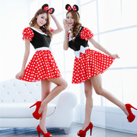 Wholesale Blue Sexy Halloween Costumes - Wholesale-Free Shipping Hot Sale Sexy Minnie Mickey Costumes Mouse Halloween Cosplay Fancy Up Outfit Dress #TAE