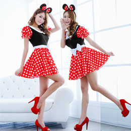 Wholesale Mouse Outfits - Wholesale-Free Shipping Hot Sale Sexy Minnie Mickey Costumes Mouse Halloween Cosplay Fancy Up Outfit Dress #TAE