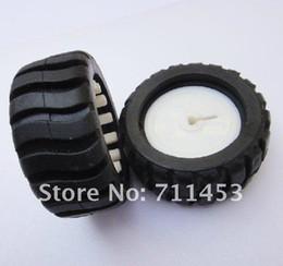 Wholesale Smart Car Toy Wheel - Wholesale-43 * 19 * D-3mm Hole Plastic and Rubber Wheels DIY Toys Car Model Accessories Smart Car of Intelligent Robots Tires