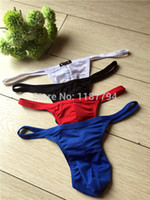 Wholesale Xs Cotton Thongs - Wholesale-Sexy Gay Mens Underwear Jockstrap Penis Pouch Lingerie G-string Brand T Back G String Thong Panty Underpants High Quality NDA01