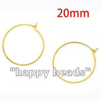 Wholesale Gold Plated Wine Glass Hoops - Wholesale-1000pcs gold plated Earring Hoops Wine Glass Charm Rings 21mm DIY(w00864x10)