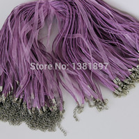 Wholesale Waxed Cord Ribbon Necklace - Wholesale-48cm 100pcs Organza Ribbon necklace waxed cord clasp chain for jewelry making accessories Free shipping! P01288