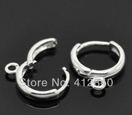 Wholesale Wholesale Lever Back Ear Wires - Wholesale-DIY Charms 10mm Rhodium Plated Hook Earrings Clip Lever Back Ear Wires Jewelry Finding 200pcs lot
