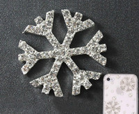 Wholesale 25mm Crystal Buttons - Wholesale-Free Shipping snowflake Crystal Rhinestone Button Used On Invitation Card 25mm 50pcs lot Silver Tone Flat Back
