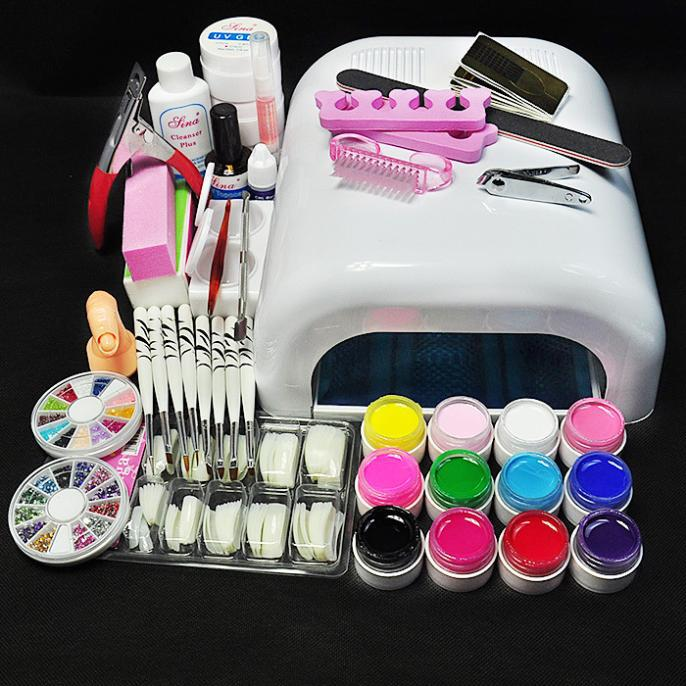 Al por mayor-White Lamp 12 Color UV Gel Nail Nuevo Pro 36W UV GEL Nail Art Tools Sets Kits
