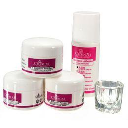 Wholesale Acrylic Powder Nail Tips - Wholesale-Professional 5Pcs Nail set Acrylic Powder Liquid Glass Cup Women Nail Art Tips design Manicure Kit Tools 3 Colors