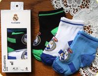 Wholesale Wholesale Kids Soccer Socks - Wholesale-2015 Real Madrid soccer socks Baby socks sportswear,100% Cotton Real Madrid Official 0-6M Baby kids football socks 3 pairs lot