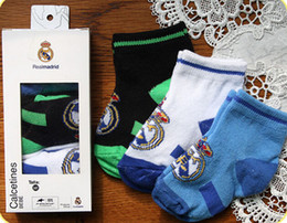 Wholesale Wholesale Real Madrid - Wholesale-2015 Real Madrid soccer socks Baby socks sportswear,100% Cotton Real Madrid Official 0-6M Baby kids football socks 3 pairs lot