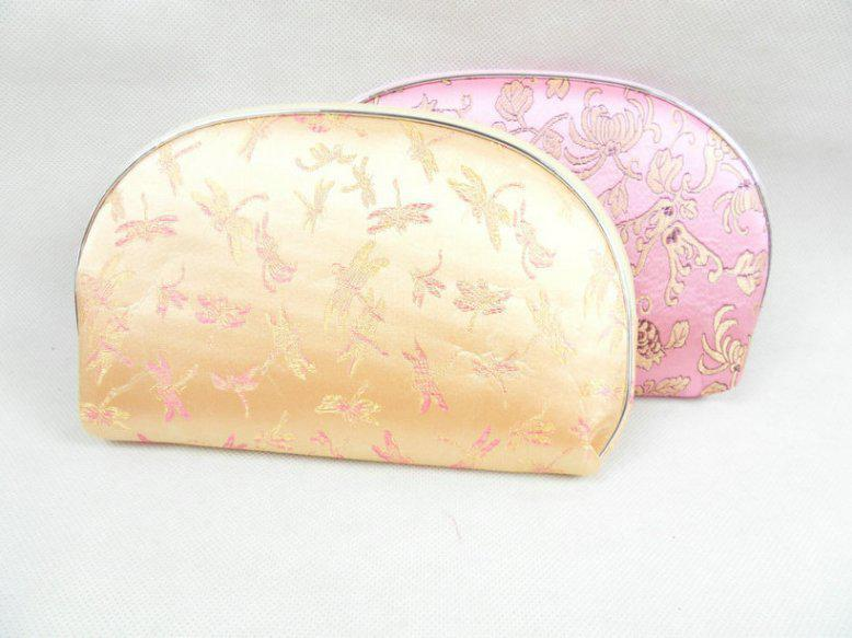 Large Floral Silk Brocade Zipper Coin Purse Women Portable Travel Makeup Storage Bag Cosmetic Pouch Cases