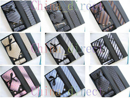 Wholesale Cufflink Tie Set Boxes - Mens Ties Set NeckTie Hanky cufflinks Handmade New with box 12 sets lot #2523