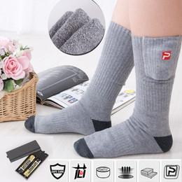 Wholesale Foot Powered - Wholesale-Heated Socks 2.4v 2AA Battery Rechargeable Battery Warm Feet Treasure Battery Heated Socks Foot Warmer Heated Insoles Power