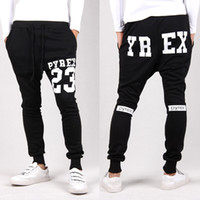 Wholesale Taper Pants Man - Wholesale-Pyrex sarouel baggy tapered bandana pant hip hop dance harem sweatpants drop crotch pants men parkour sport track trousers