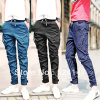 Wholesale Drop Jeans Man - Wholesale-Mens Little Leg Pencil Long Pants Jeans Skinny Trousers Casual Black Blue Purple drop freeshipping