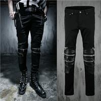 Wholesale mens cotton overalls - Wholesale-Harajuku Mens Jeans Brand Zipper Leather Patchwork Slim Fit Designer Punk Overalls Mens Skinny Denim Jjeans