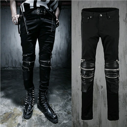 Wholesale Man Cotton Overalls - Wholesale-Harajuku Mens Jeans Brand Zipper Leather Patchwork Slim Fit Designer Punk Overalls Mens Skinny Denim Jjeans