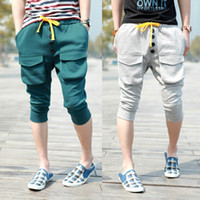 Wholesale Korean Casual Trousers For Men - Wholesale-Korean harem pants for men Large pocket Sports capris Length trousers Casual items Free shipping Wholesale.New