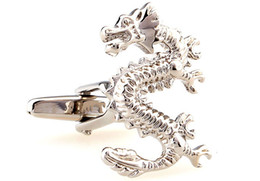 Wholesale Tie Clip Material - Wholesale-Free shipping Dragon Cufflinks cufflinks retail silver gold color animal design copper material men cufflinks whoelsale&retail