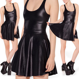 Wholesale Leather Ball Dresses - Wholesale-Autumn Fall Dress Faux Fur Wet Look Leather Skater Dress Pleated Dresses Black Dress Plus Size Women Clothing XL free shipping