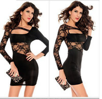 Wholesale Long Sleeve Leopard Lace Dress - Wholesale-Sexy Party Bandage Dresses Women 2015 Vestido Mesh Chiffon Lace Loose Beach Leopard Night Club Bodycon Long Sleeve Plaid Dress